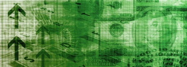 Dollars on a green background